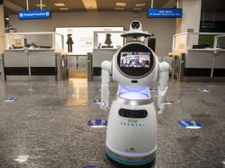 Robot at Kigali International Airport.jpg